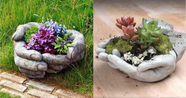 Ogrodowa doniczka w kształcie dłoni