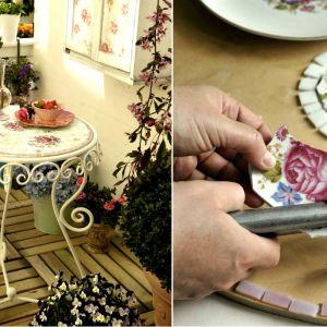 Mozaikowy stolik na balkon DIY
