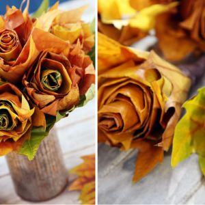 Róże z liści klonu - krok po kroku