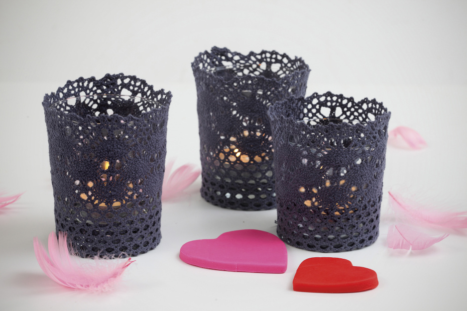 świeczniki z koronki DIY
