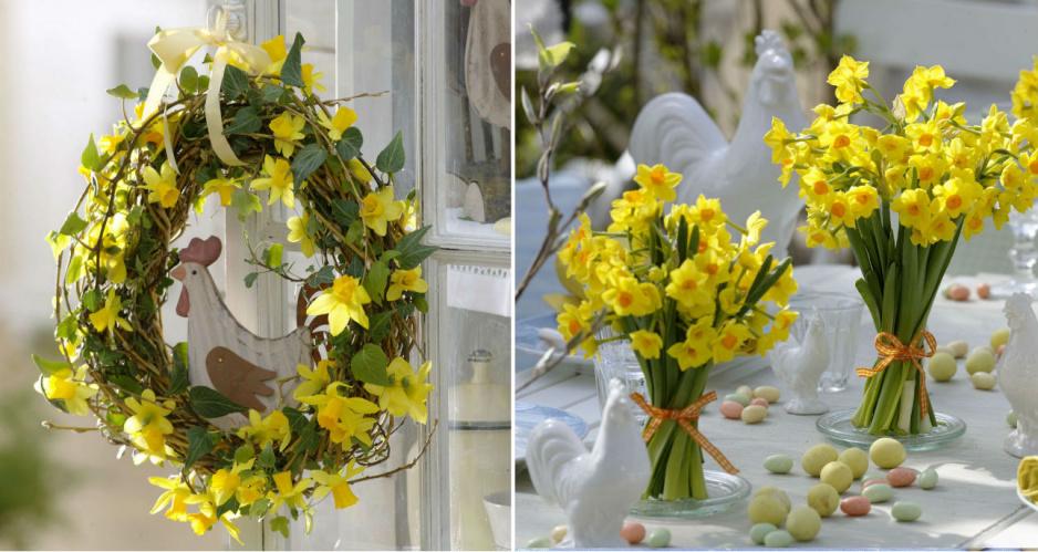 Wielkanocne dekoracje z żonkili