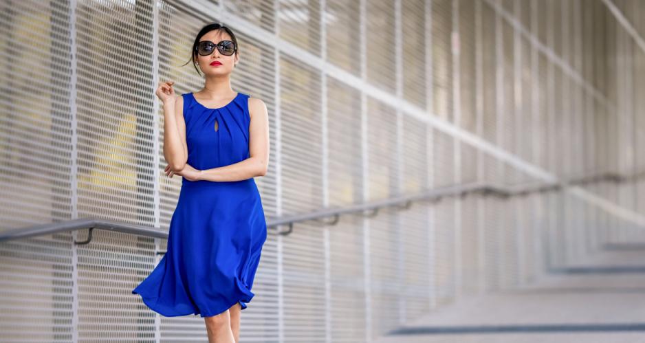 a4eb0f4150452b Najlepsze dodatki do chabrowej sukienki - Claudia