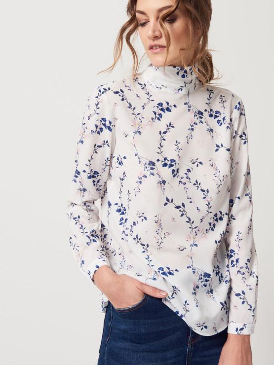 Romantyczna koszula z wiązaniem przy szyi, Mohito, 99,99 PLN - Trendy wiosna - lato 2017 - Kwiaty