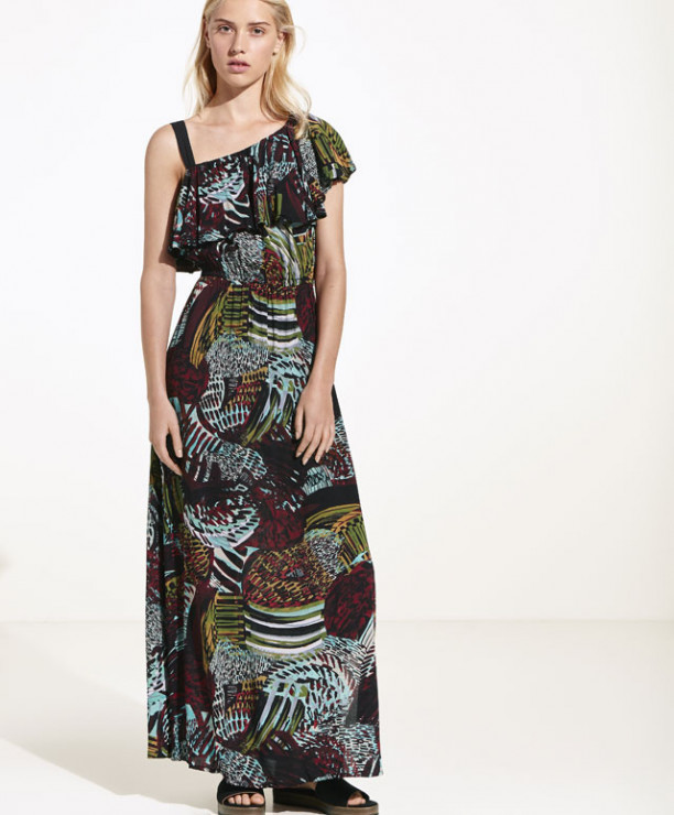 278cf91102 Sukienka maxi z etnicznym nadrukiem