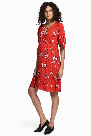 Znane Czerwona sukienka ciążowa z dekoltem w serek, h&m, 129,90 PLN  #RQ-99