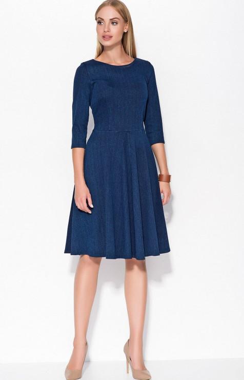92e86ca65b Rozkloszowana jeansowa sukienka