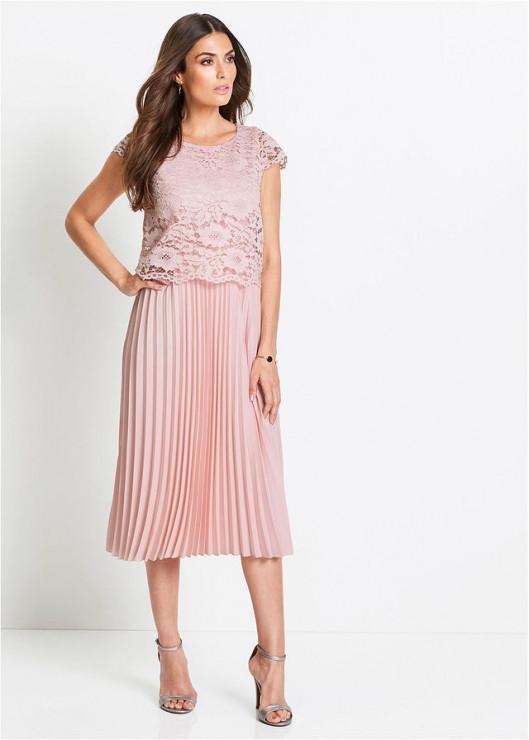 64439c79e56581 Sukienka z plisowaną spódnicą - 219,99 zł, Bon Prix - Najpiękniejsze  koronkowe sukienki na wesele