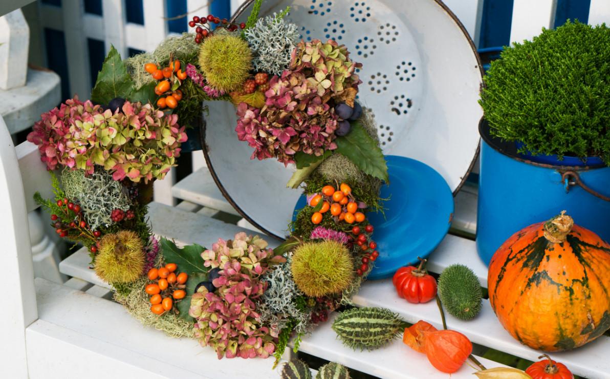 Wieniec jesienny na drzwi - Jesienne dekoracje - wieńce na drzwi